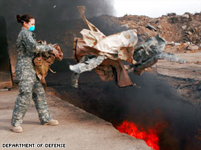 Studies of the smoke from the burn pits suggests it contains dioxin and other toxins.