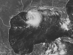 Tropical Storm Edouard, here at 6:15 p.m. ET Monday, is picking up speed as it heads to Texas.
