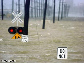 Hurricane Gustav's high waters force highway closures between Gulfport and Biloxi, Mississippi, on Monday.