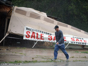 Water from the Industrial Canal floods a road in New Orleans after Hurricane Gustav made landfall Monday.