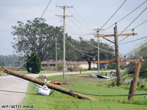 A power line juts into the roadway in Greenwood, Louisiana, after Hurricane Gustav passed through.