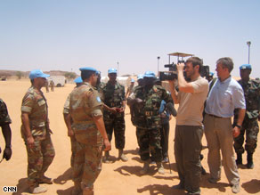 CNN's crew films U.N. peacekeepers in Darfur.