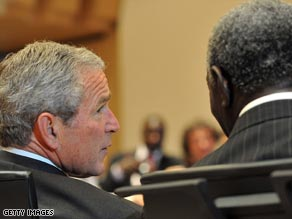 President George W. Bush and Ghana President John Kufuor during the G-8 Hokkaido Toyako Summit