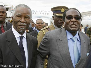 South African President Thabo Mbeki, left, with his Zimbabwean counterpart Robert Mugabe.