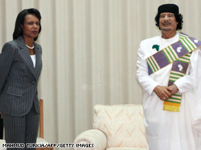Condoleezza Rice and Libyan leader Moammar Gadhafi discussed the weather Friday at their initial meeting.