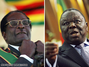 Mugabe (left) and Tsvangirai