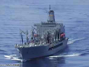 The USNS John Lenthall is one of 14 fleet refueling ships operated by Military Sealift Command.