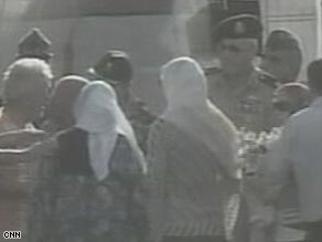 A picture from television footage of the hostages landing at an Egyptian military base.