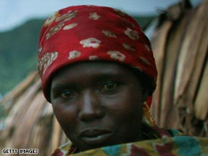 A woman who has been displaced by the current fighting in the Congo.