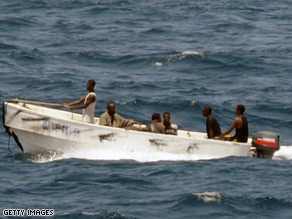 Image taken by the U.S. Navy of pirates leaving a captured merchant vessel in the Gulf of Aden.