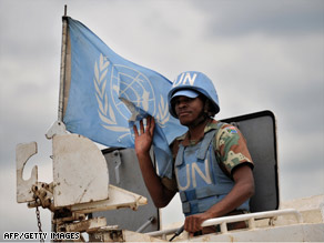 A U.N. peacekeeper rides atop an armored vehicle last week in Goma, Democratic Republic of Congo.