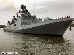 A file photo shows the Indian frigate Tabar, which was involved in the skirmish.