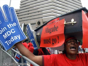 MDC supporters demonstrate against Robert Mugabe on November 9 in Johannesburg, South Africa.