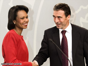 Condoleezza Rice and Danish PM Anders Fogh Rasmussen