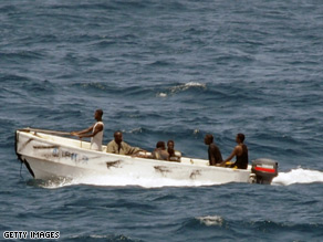 U.S. Navy image of pirates operating off coast of Somalia in October this year.