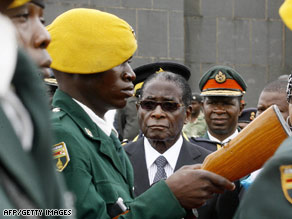 Zimbabwe President Robert Mugabe at Zanu-PF National Political Commissar Elliot Manyika's burial last week
