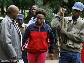 Human rights activist Jestina Mukoko arrives at court in Harare, Zimbabwe, on Wednesday.
