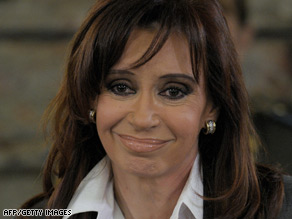 President Cristina Fernandez: Calls on rally Wednesday to support her policies.