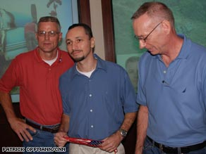 Photos of, from left, Gonsalves, Howes and Stansell while they were being held in the jungle.