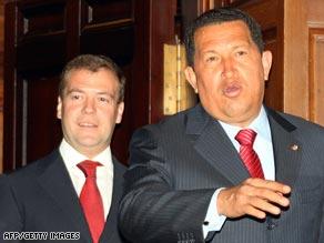 Venezuelan President Hugo Chavez, right, with Russian President Dmitry Medvedev.