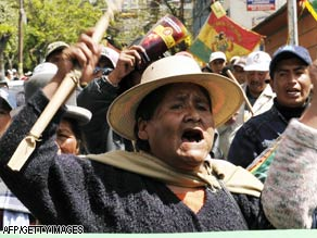 Indigenous people from El Alto, Bolivia, take part in an anti-U.S. demonstration in La Paz on Monday.