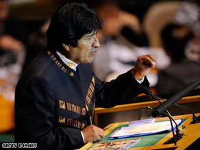 Bolivian President Evo Morales speaks at the United Nations in New York on Tuesday.