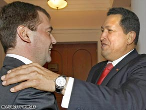 Russian President Dmitry Medvedev (left), with Venezuelan counterpart Hugo Chavez