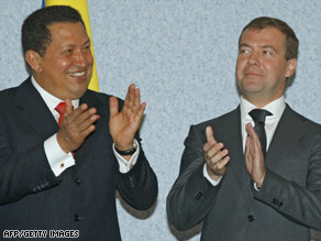 Venezuelan President Hugo Chavez and Russian President Dmitry Medvedev met last week in Russia.