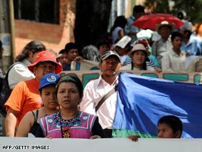 Indians protest against the government on Tuesday in Medellin in northern Colombia.
