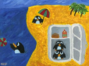 "This picture by Andrew Bartolo, 15, of Malta is one of 26 for sale in the UNEP's ""Paint for the Planet"" auction."