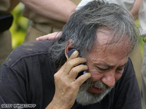 Escaped hostage Oscar Tulio Lizcano gets a taste of freedom Sunday.