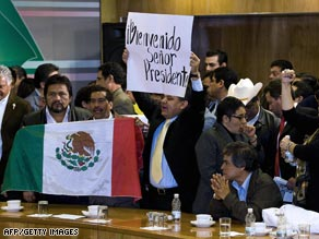 Party of the Democratic Revolution members in Mexico City protest privatization of Pemex on Tuesday.