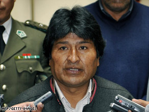 Bolivian President Evo Morales, seen last month, says his government will control its anti-drug activities.