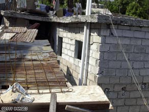 A partially-collapsed school in Port-au-Prince that left 7 injured Wednesday.