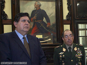 General Edwin Donayre, right, meets with Peruvian President Alan Garcia in Lima, Peru, last year.