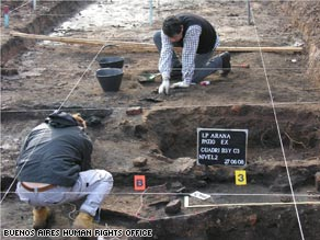 Bones were unearthed during a seven-month search at an ex-detention post in La Plata, Argentina, officials said.