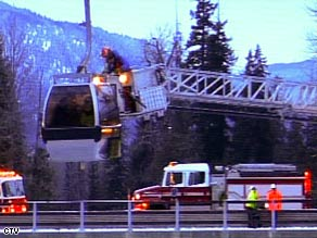 Authorities say the gondola tower snapped in half, suspending some cars.