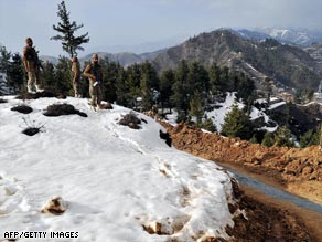 Pakistani soldiers on patrol in the Swat Valley, which is home to the country's only ski resort.