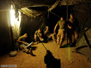 U.S. Marines take a break at Camp Dwyer, located south of Helmand province in Afghanistan.