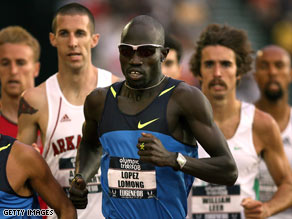 Lopez Lomong competes during Olympic trials in Eugene, Oregon, last month.