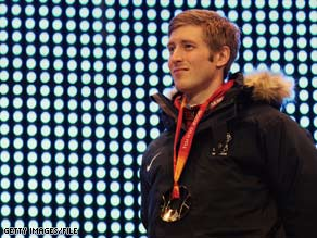 U.S. speed skater Joey Cheek won a gold medal at the 2006 Winter Olympics in Turin, Italy.