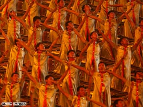Drummers perform at the Opening Ceremony of the Summer Olympic Games in Beijing, China.