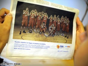 The photo, taken for a sponsor of the Spanish basketball team, shows the players making an eye gesture.