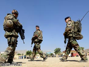 French soldiers patrol in Afghanistan in May 2008.