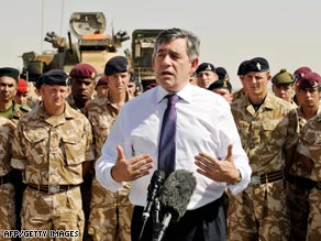 British Prime Minister Gordon Brown addresses British soldiers Thursday in Afghanistan.