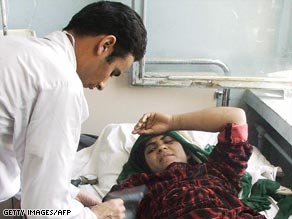 A woman allegedly injured in the airstrike is treated in a Herat area hospital.