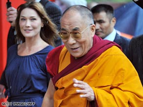 The Dalai Lama with French first lady Carla Bruni-Sarkozy on a recent visit to France.