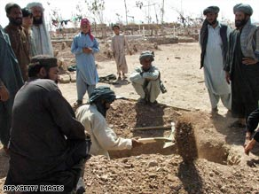An Afghan man prepares a grave after a U.S. airstrike in Afghanistan's Herat province last month.