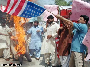Pakistanis in Multan protest what they say was a U.S. attack using Predator drones.