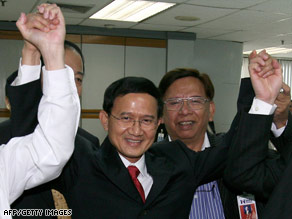 Somchai Wongsawat, center, after being nominated for the post of prime minister on Monday.